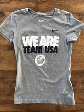 NIKE Women's Size XS S/S Slim Fit T-Shirt T Gray WE ARE TEAM USA Olympics - EUC!