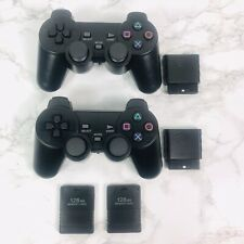 Wireless Twin Shock Controllers For Sony Playstation 2 PS2, 128mb Memory 2 pack