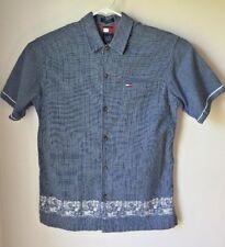 VTG Tommy Hilfiger Mens Short Sleeve XL Button Up Blue Aloha Hawaiian Cotton