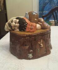Gnome / Troll Sleeping on Tree Stump Cookie Jar