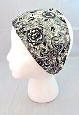 Black White Paisley Headband Thick Thin Kerchief Soft Fabric Extra Wide