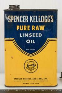 Vintage Linseed Oil Can Spencer Kellogg's g25