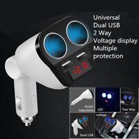 LED Double Socket Dual USB Car Charger Cigarette Lighter Splitter 12-24V
