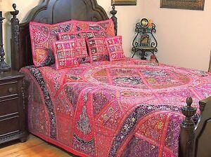 Magenta Kundan India Style Beaded Bedding Sari Luxury Duvet Pillow Shams King