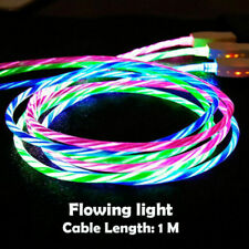 4Pcs LED Flowing Light Up USB Sync Type-C Data Cable Charging Charger Cord Cable