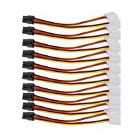 10PCS Molex (4 Pin) to PCI-E (6 Pin) Power Converter Adapter Connector #gib