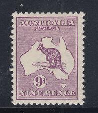 Australia Sc 9 MLH. 1913 9p Kangaroo, wide Crown & wide A watermark, F-VF