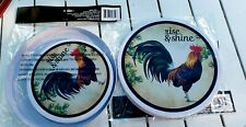 NWT Rise & Shine Rooster Metal Electric Burner Covers Set of 4
