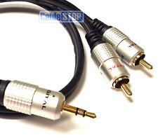 50 cm 3,5 mm Stereo Jack a 2 RCA Phono MP3 Ipod Cavo di piombo OFC ORO 0,5 m