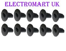 10 X DOUBLE TWIN GROMMETS TV COAX CABLE TIDY WALL BUSHES ENTRY EXIT BLACK