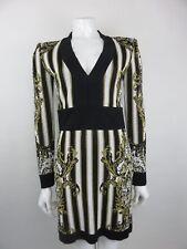 Balmain Paris Striped Baroque V Neck Dress size 38FR UK 10