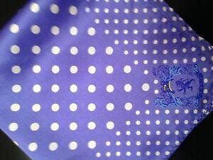 "New 14"" Satin 100% Silk Pocket Square Bright Blue Polka-D4"