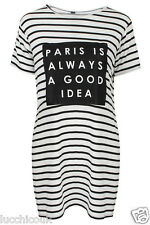 Ladies Womens Paris Is Always A Good Idea Striped Long line Split Side T-Shirt