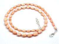 """Natürliche Korallen Tulpe Geschnitzt Halsketten 925 Sterlingsilber 18"""" Edelstein"""