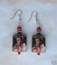 Elvis Presley Earrings King of Rock N Roll scrabble Charm Vintage Altered Art