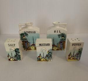Vintage Condiments Set Oil Vinegar Salt Pepper Shaker Mustard Jar Japan Made
