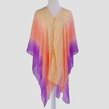 STUNNING WOMEN'S PURPLE, ORANGE AND GOLD CHIFFON BEACH COVER UP TOP, ONE SIZE