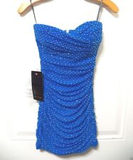 NWT bebe blue stud strapless ruched mesh bodycon bustier top dress M Medium club
