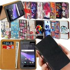 For HTC Smartphones Flip Leather Wallet Card Stand Cover Phone Case + Strap