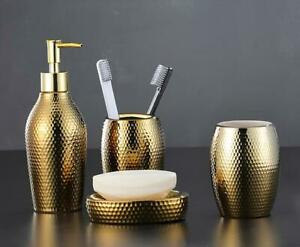 New 4PCS Nordic Golden Bathroom Accessories Soap Dish Cup Toothbrush Holder Set