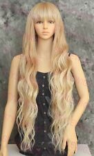 Light Blonde Mix Tipped Extra Long Loose Wavy Heat OK Synthetic Wig Hairpiece