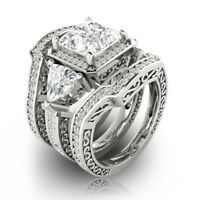 Vintage Women Jewelry 925 Silver Set White Topaz Wedding Engagement Ring Sz 6-10