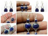 Blue Sapphire Earrings 925 Sterling Solid Silver Women Jewelry Mothers Day Gift
