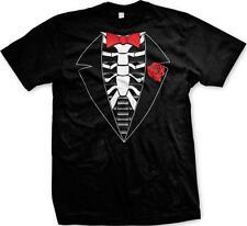 Red Bowtie Skeleton Tuxedo Halloween Red Rose Formal Funny Humor Mens T-shirt
