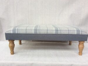 Large Footstool upholstered in Laura Ashley highland check steel