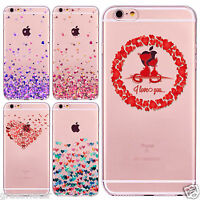 For iPhone 7 Plus TPU Case Cover Apple 4 5S 6S 6 Heart-shaped Printed Phone Skin