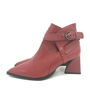 New Jigsaw Boots UK 6 EU 39 Ume Triangle Heels Buckle Shoes Red Leather 301148