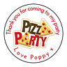 Personalised Pizza Party Boy Girl Thank You Stickers Party Bag Sweetie Cone
