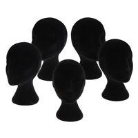 5pcs Black Styrofoam Mannequin Manikin Head Model Wigs Glasses Display Stands