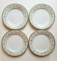 "Noritake 5807 Edgewood Set of 4 6.5"" Bread & Butter Plates Platinum Trim Floral"