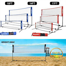 Volleyball Tennis Net Set W/Stand Frame Carry Bag 10/14/17 FT Portable Badminton
