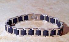 COLIBRI of LONDON S  STEEL & BLACK mens bracelet LBR202088