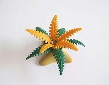PLAYMOBIL (I238) VEGETATION - Fougère Verte & Orange Décor Plante sur Socle Ocre