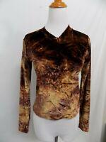New Z Cavaricci Shirt Velvet Feel Brown Marbled Long Sleeve V Neck Jr Small