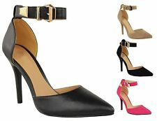 New Womens High Stiletto Heel Buckled Ankle Strap Pointed Toe Suede-PU Shoes