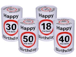 Happy Birthday 18 30 40 50 Metall Spardose Geburtstag Sparbüchse and sexy neu