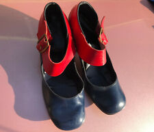 Vintage Blue and Red Women's Heels Fascinator Shoes Fit like a size 6