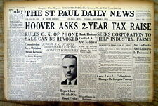 1931 hdlne newspaper President HOOVER RAISES TAXES to fight THE GREAT DEPRESSION