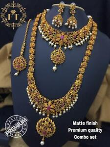 South Indian temple Jewellery Necklace Gold matte Finish Temple Necklace Jewelry
