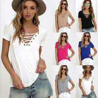 HOT Summer Womens Lace up V Neck Blouse Tops Casual Short Sleeve Slim T-Shirts
