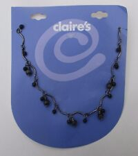 "LLD 16"" jet black dangle bead NECKLACE Claire's fashion jewelry"