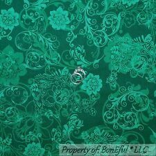 BonEful Fabric Cotton Quilt Green Flower Swirl Scroll Girl Boy Mardi Gras SCRAP