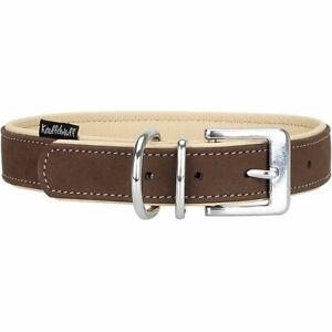 Knuffelwuff Halsband Leder Nubuk Lederhalsband Hunde braun 6 Größen