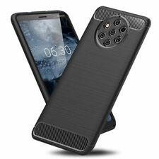 For Nokia 9 PureView Case Carbon Fibre Gel Cover & Glass Screen Protector