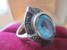 Blue topaz large  sterling silver ring pretty  size 8-9