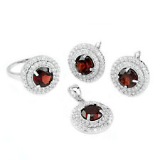 8 mm Round Natural Garnet Gemstone 925 Sterling Silver Pendant Ring Earring